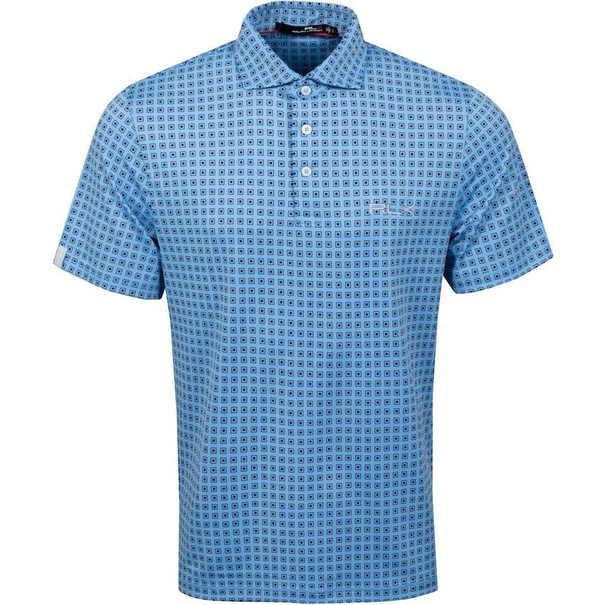 Printed Lightweight Airflow Polo Shirt Blue Lagoon Course Deco