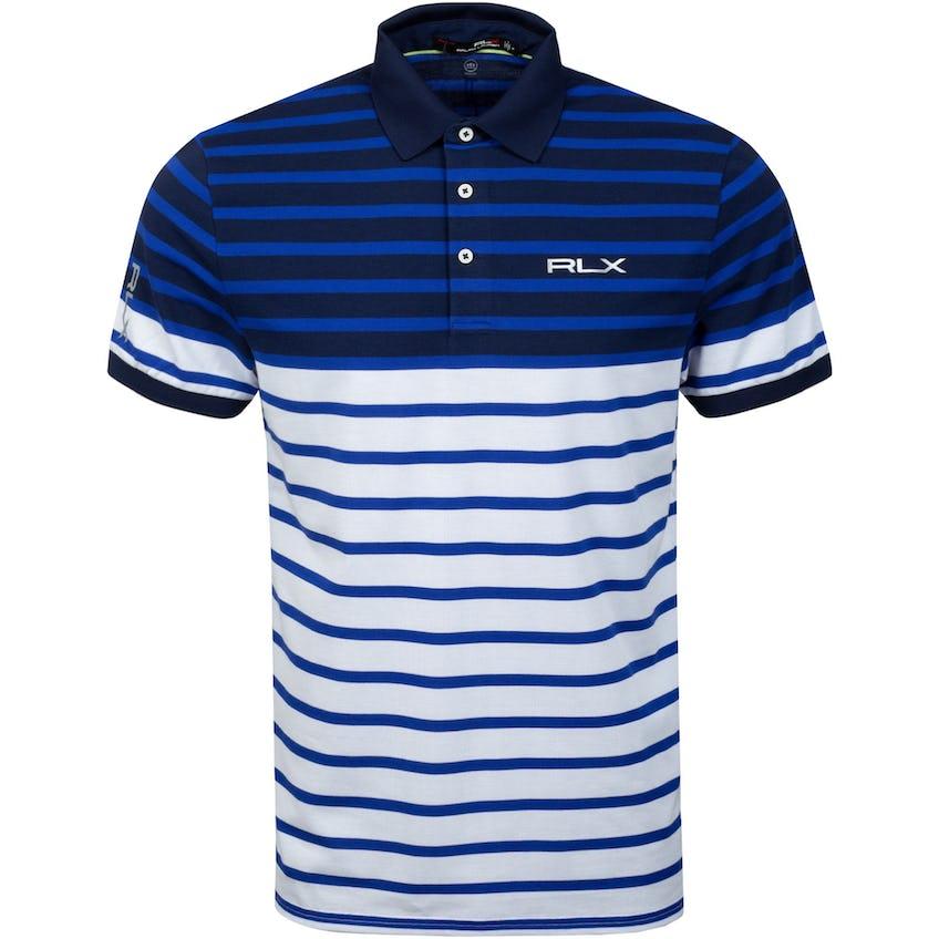 Profit Engineered Stripe Polo Shirt Royal Blue