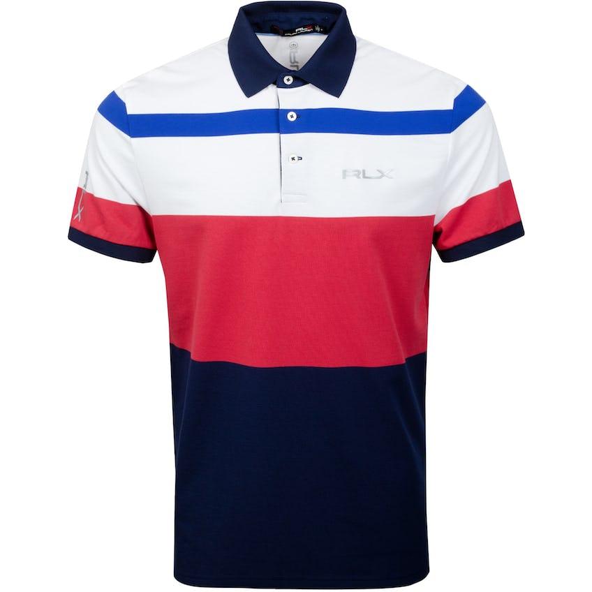 Profit Engineered Stripe Polo Shirt Sunrise Red