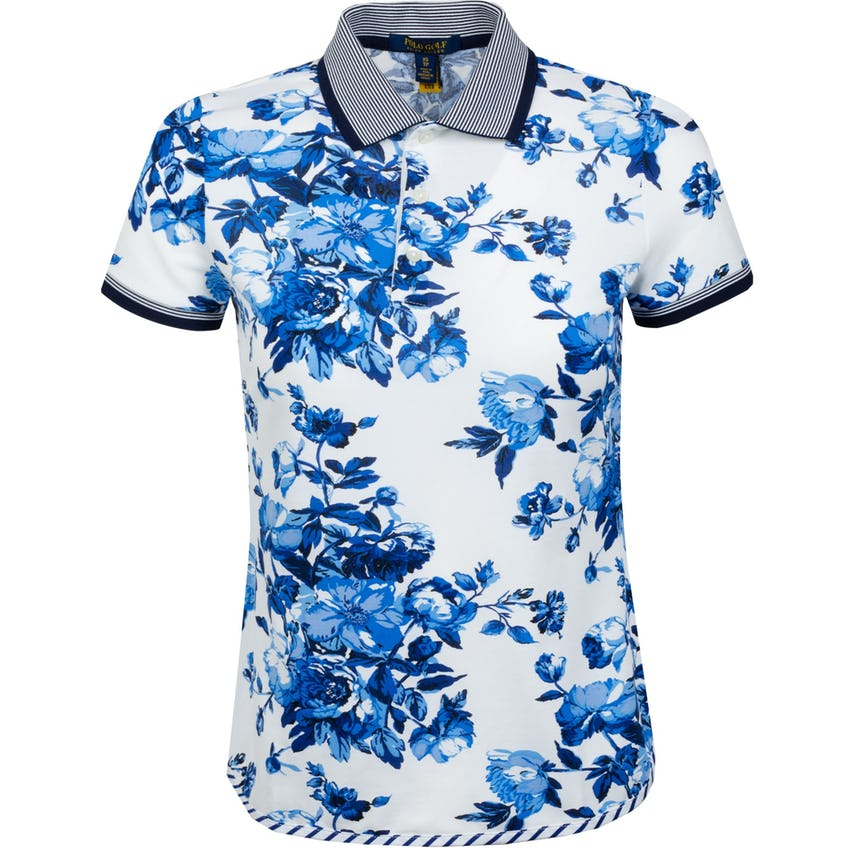 Womens Lux Jersey Fashion Polo Shirt Porcelain Floral