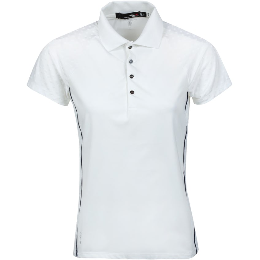 Womens Jacquard Polo Shirt White Polka Dot