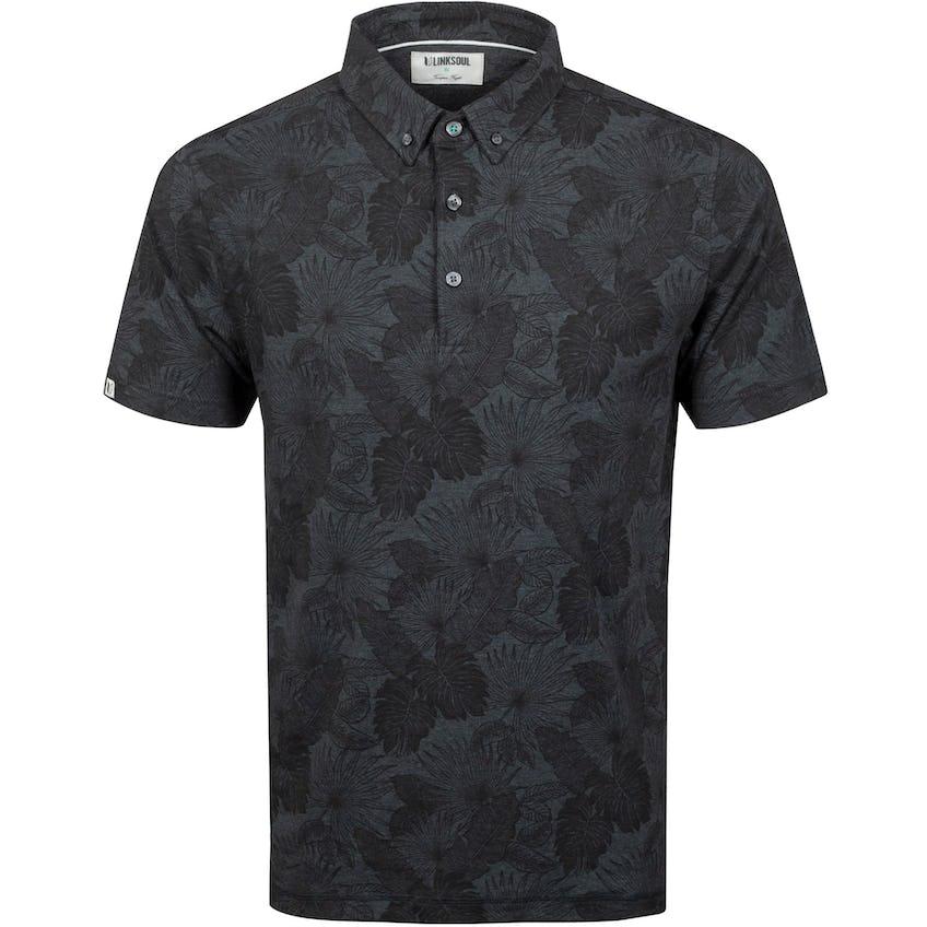 Floral Print Golf Polo Shirt Black Heather