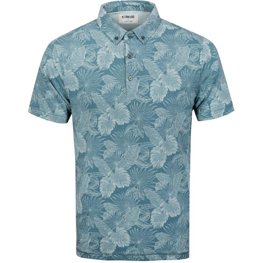 Floral Print Golf Polo Shirt Storm Heather