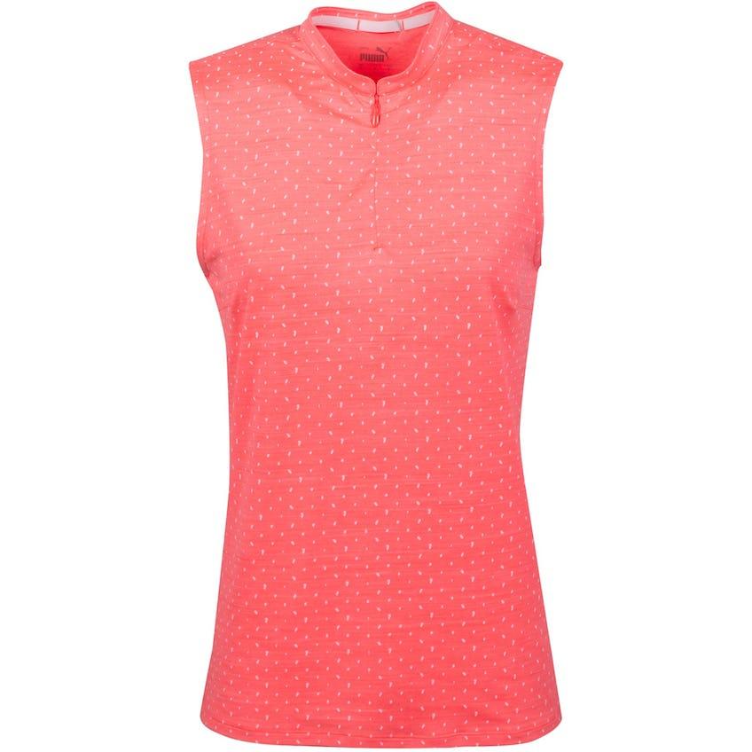 Womens Cloudspun Sleeveless Polka Dot Polo Shirt Ignite Rose/Bright White 0
