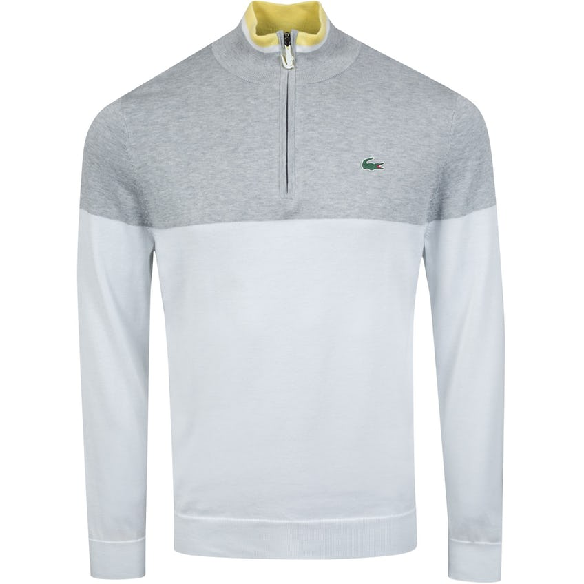 Two-Tone Knit Golf Sweater White/Silver Chine/Yellow