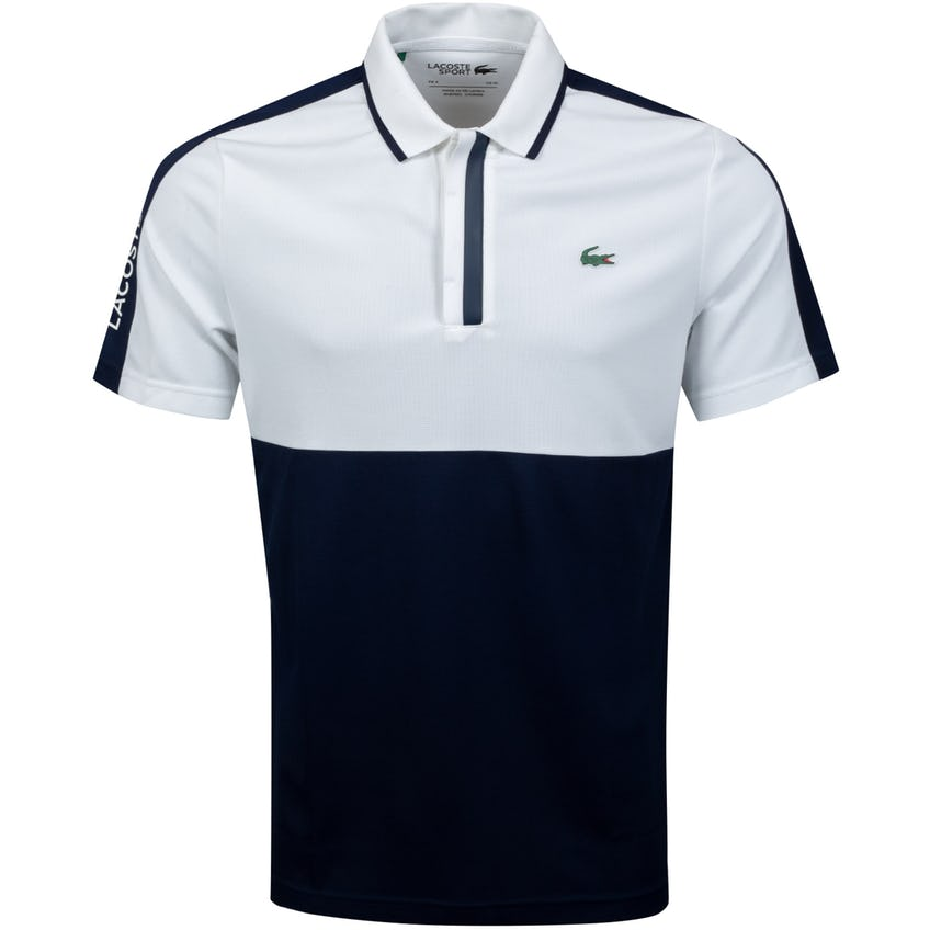 Breathable Honeycomb Knit Polo Shirt White/Navy Blue