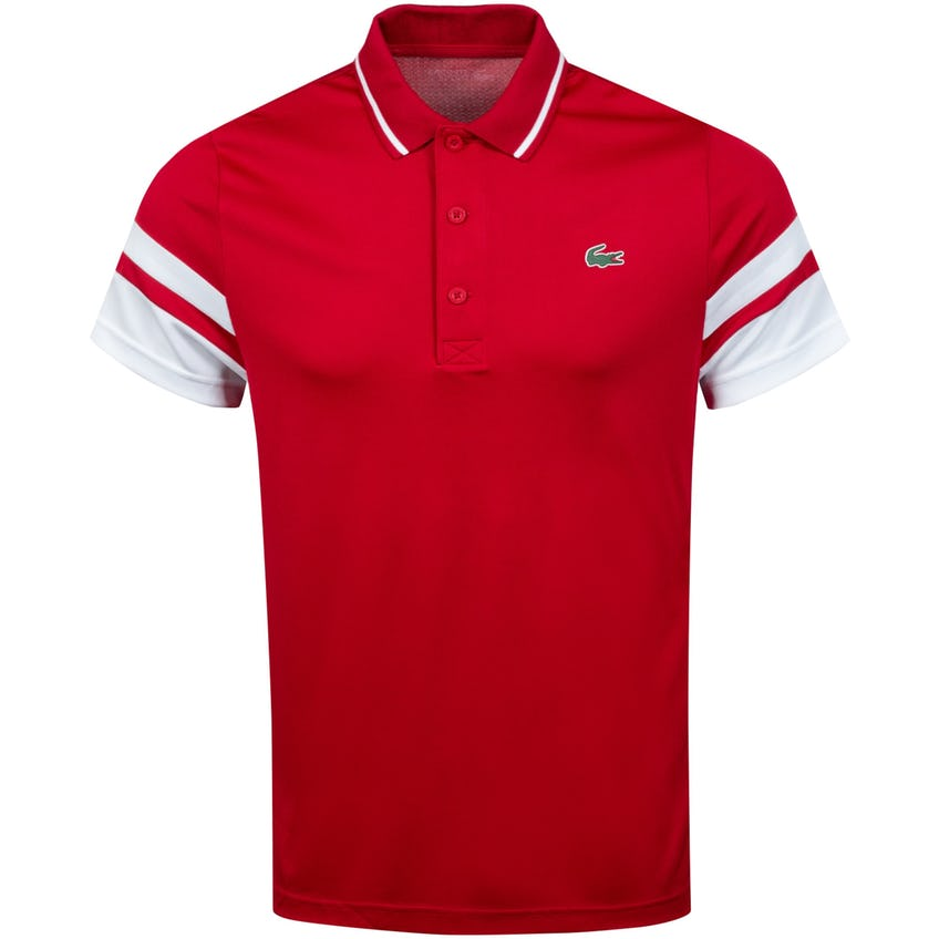 Striped-Sleeve Breathable Pique Polo Shirt Red/White