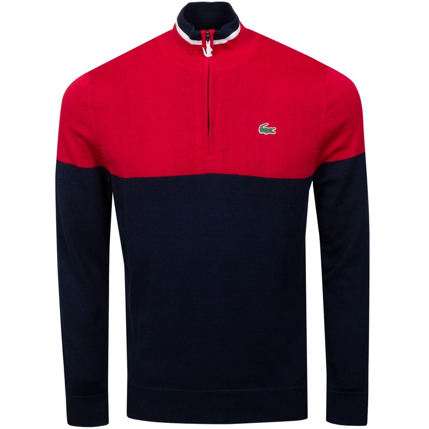 Two-Tone Knit Golf Sweater Navy Blue/Red