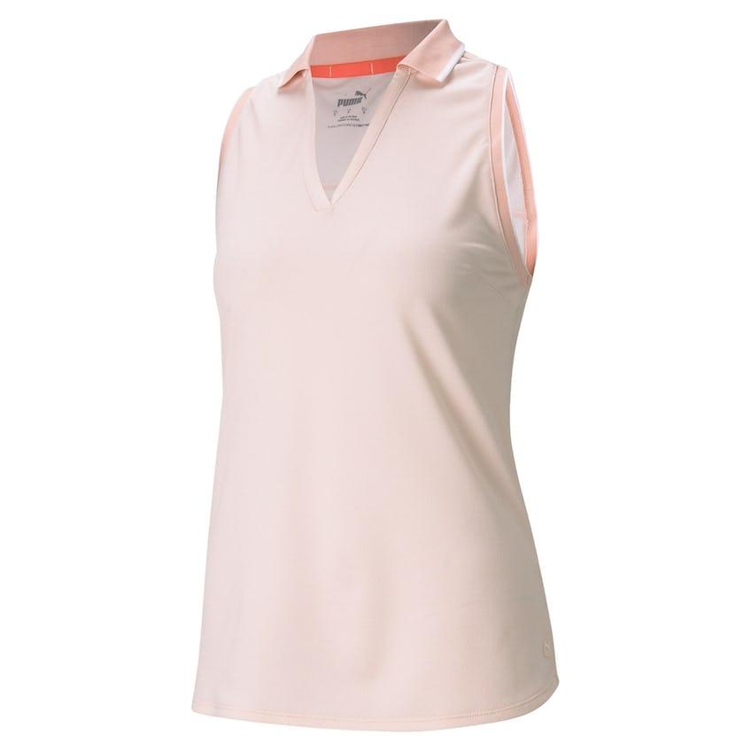 Womens MATTR Sprinter Sleeveless Polo Shirt Cloud Rose Heather 0