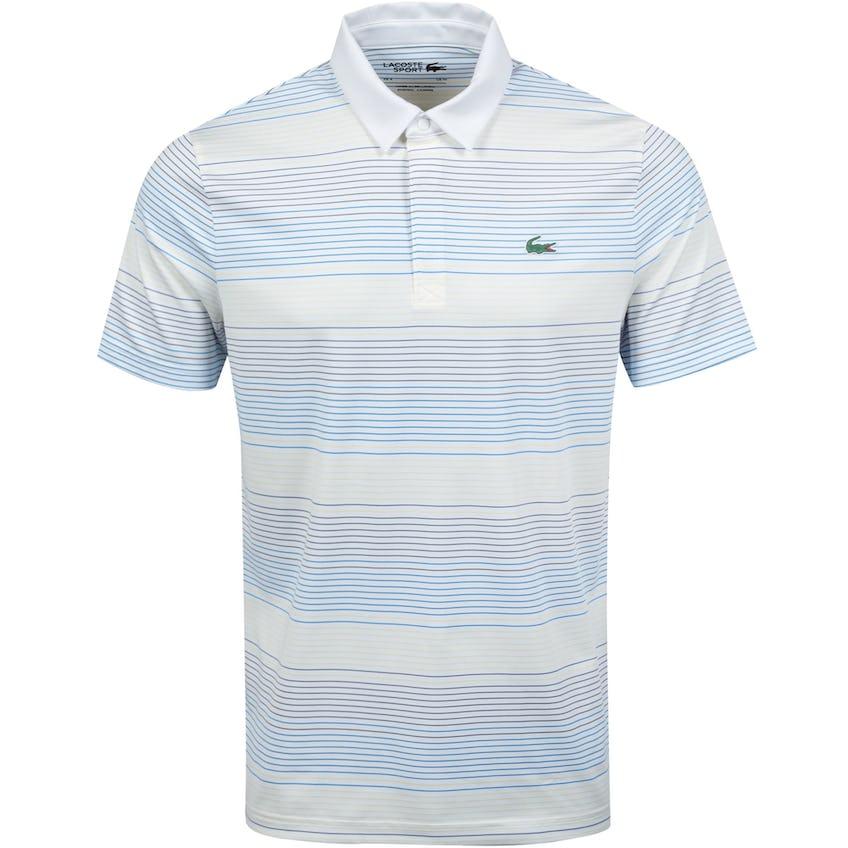Coloured Stripes Breathable Stretch Polo Shirt White/Latitude Blue 0