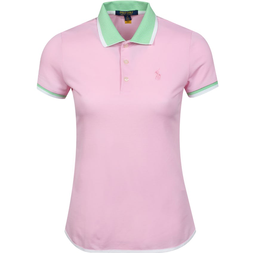 Womens Performance Lisle Shirttail Polo Shirt Carmel Pink/Force Green- SS21 0