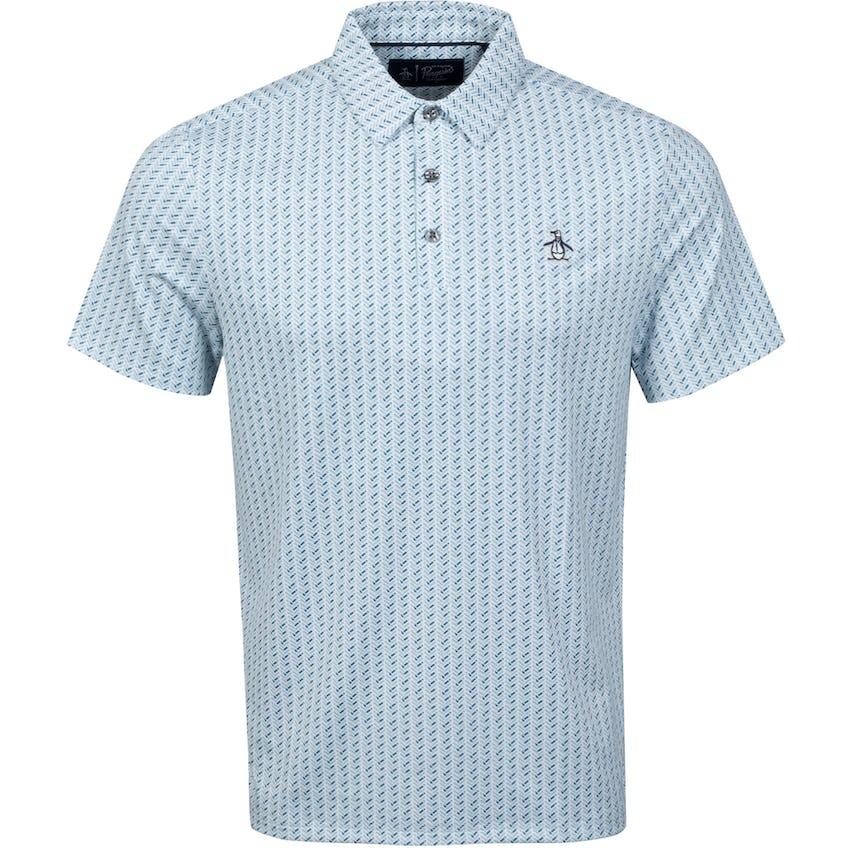 Herringbone Print Polo Shirt Real Teal 0