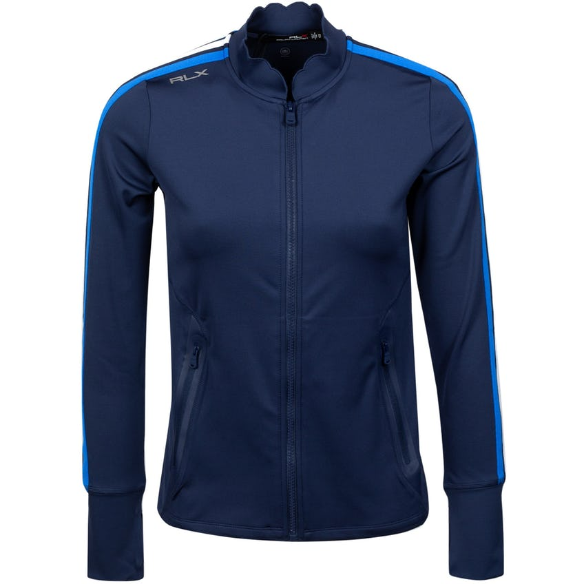 Womens Powerstretch Full Zip Jacket French Navy Side Stripe 0