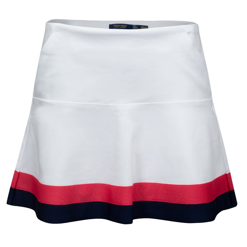Womens Coolmax Flounce Skort Pure White/French Navy/Sunset Red 0