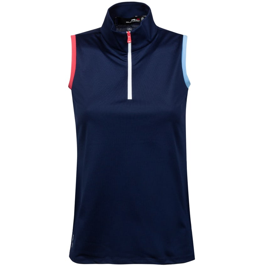 Womens Tri Color Sleeveless Quarter Zip French Navy 0