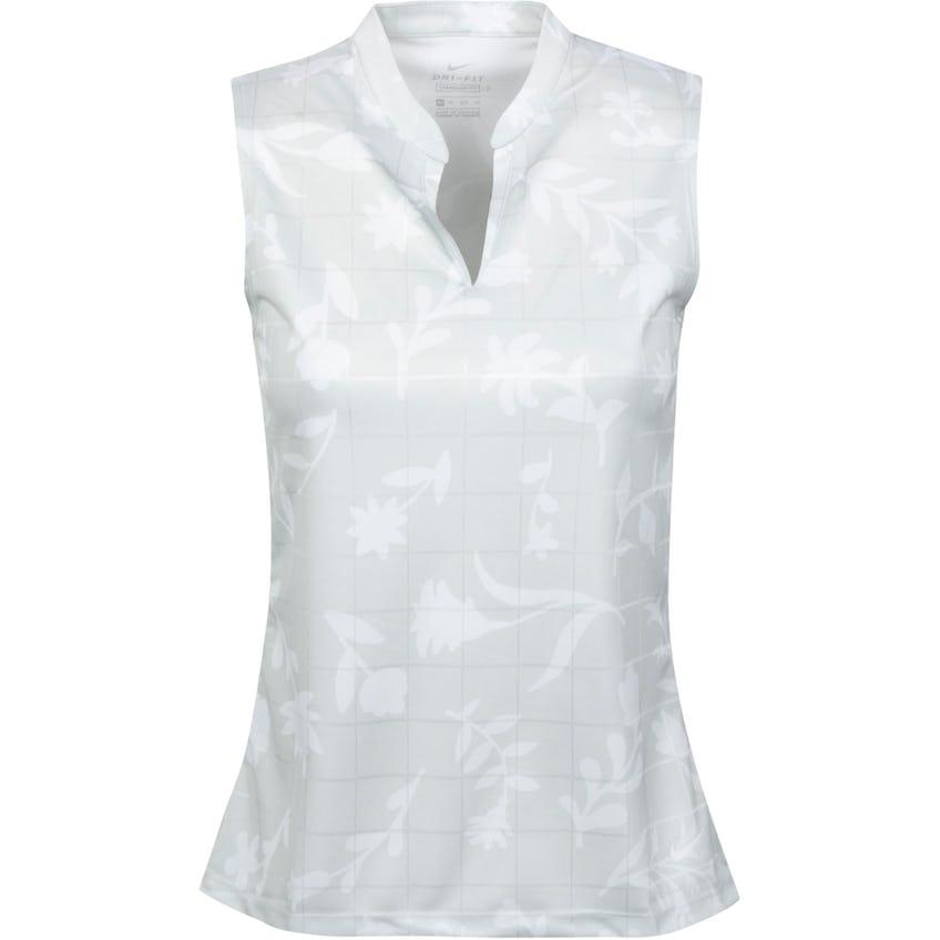 Womens Breathe Sleeveless Printed Polo Shirt Photon Dust/White 0