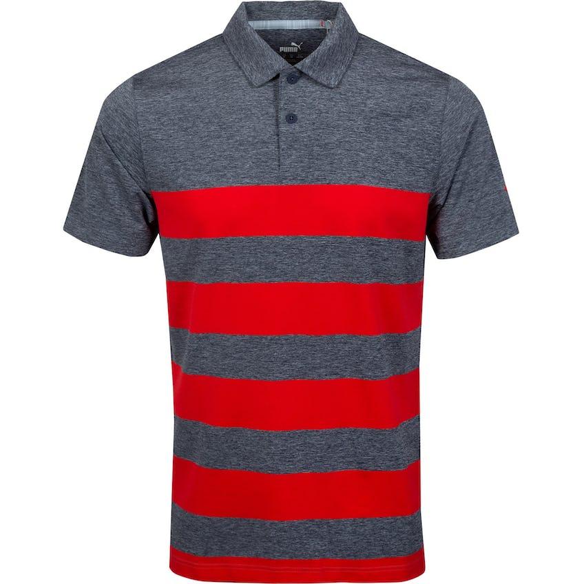 MATTR Kiwi Stripe Polo Shirt Navy Blazer Heather/High Risk Red - SS21 0