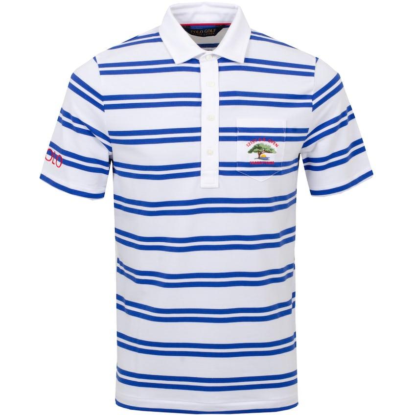 U.S. Open Performance Pique Stripe Polo Shirt White/Bright Royal 0