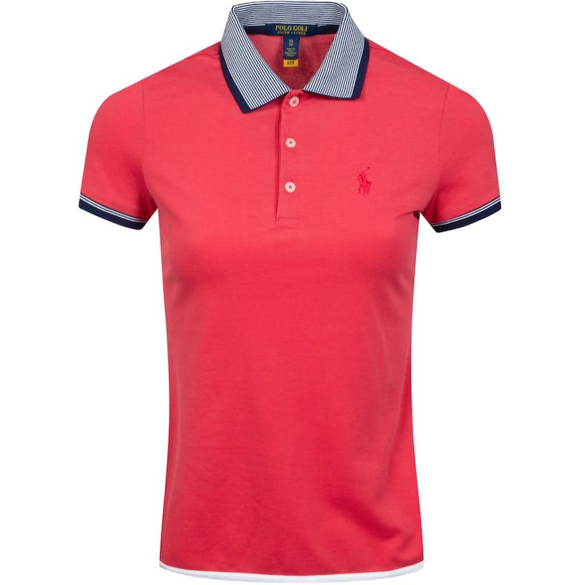 Womens Performance Lisle Shirttail Polo Shirt Sunset Red/Trooper Royal 0