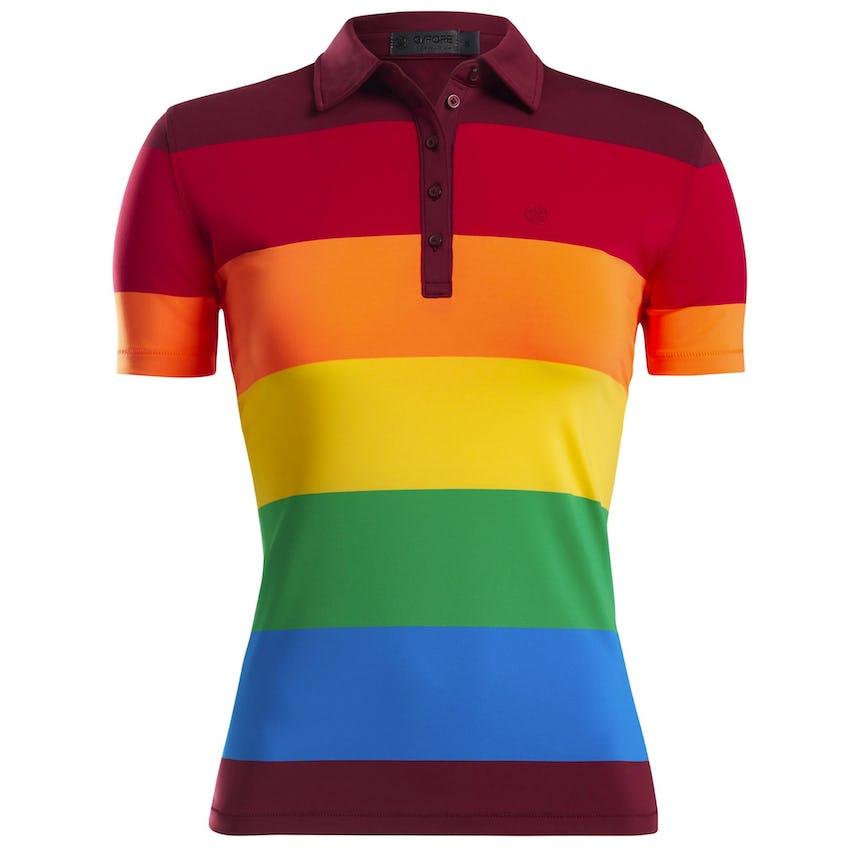 Womens Rainbow Stripe Polo Cabernet 0