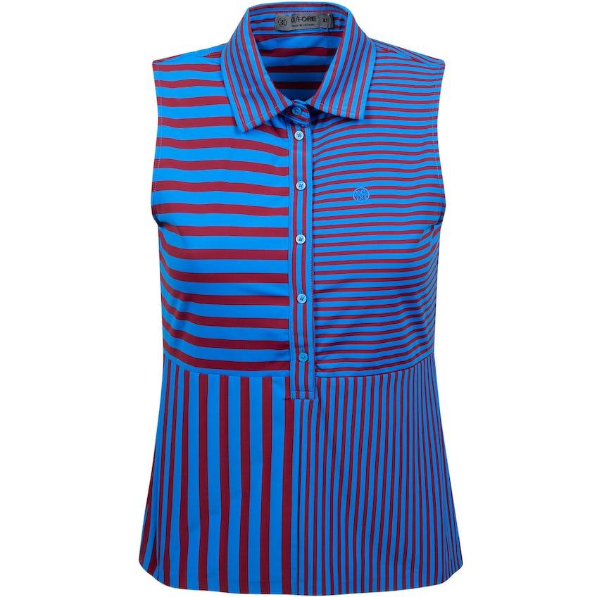 Womens Mixed Stripe Sleeveless Polo Racer 0