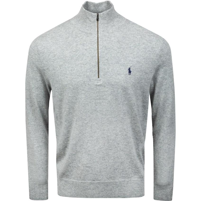 Long-Sleeve Cashmere Half-Zip Sweater Golf Light Grey Heather 0