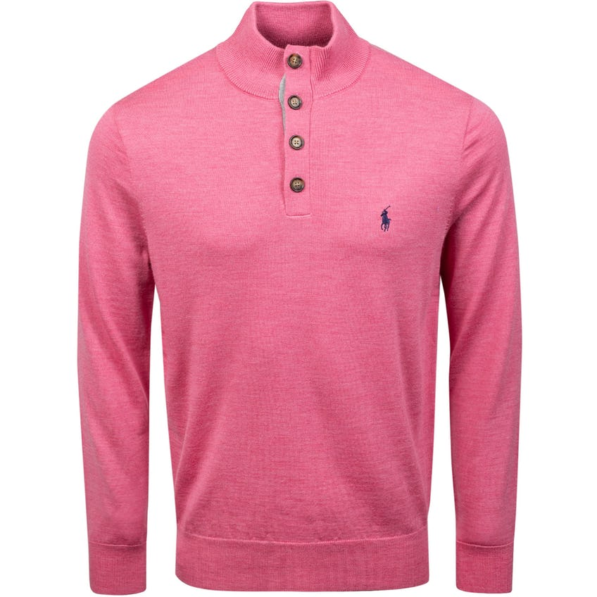 Long-Sleeve Half Button Mock Sweater With Contrast Underplacket Wine Rose Heather 0