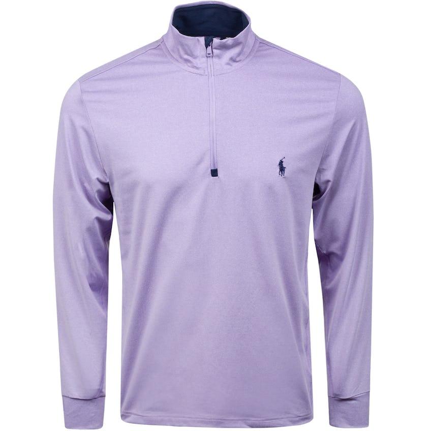 Solid Stretch Peached Jersey Half-Zip English Purple Heather 0