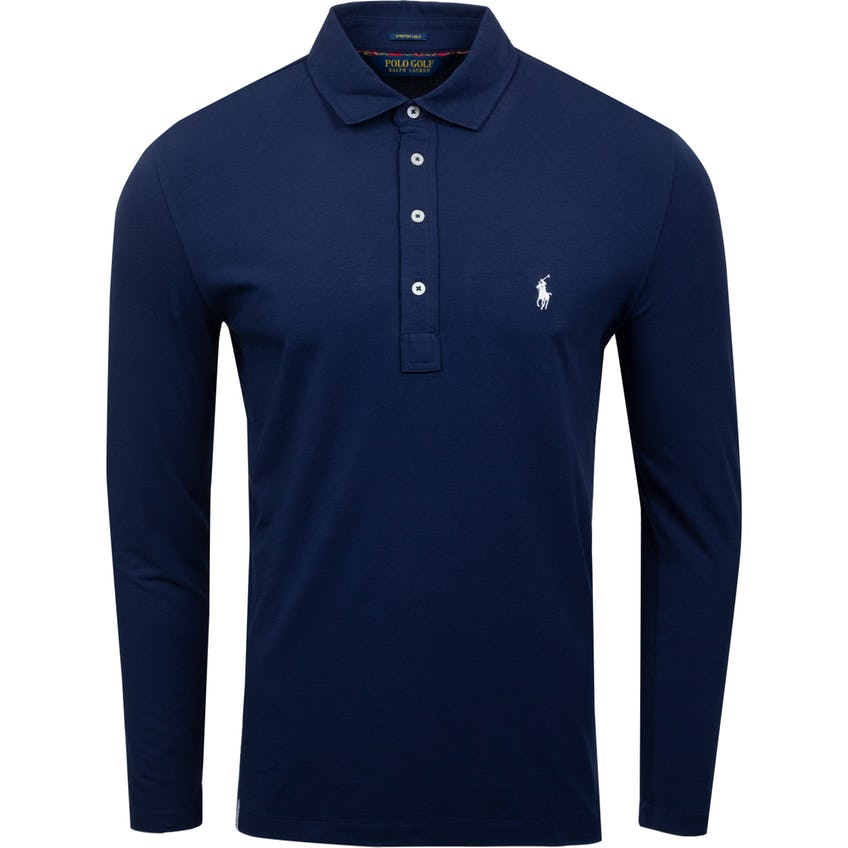 Long-Sleeve Solid Stretch Vintage Lisle Polo French Navy 0