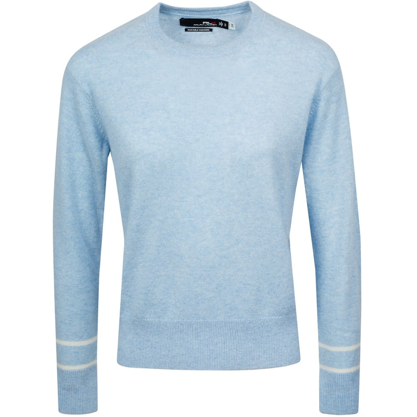 Womens Washable Cashmere Crewneck Sweater Blue Lagoon Heather/Cream 0