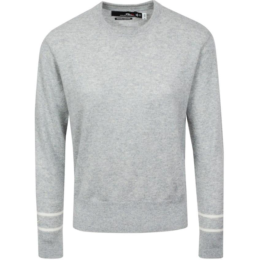 Womens Washable Cashmere Crewneck Sweater Golf Light Grey Heather/Cream 0