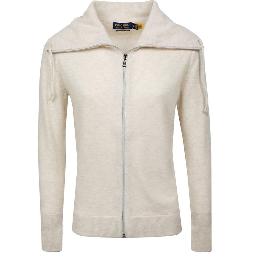 Womens Washable Cashmere Full-Zip Mockneck Sweater Panama Heather 0
