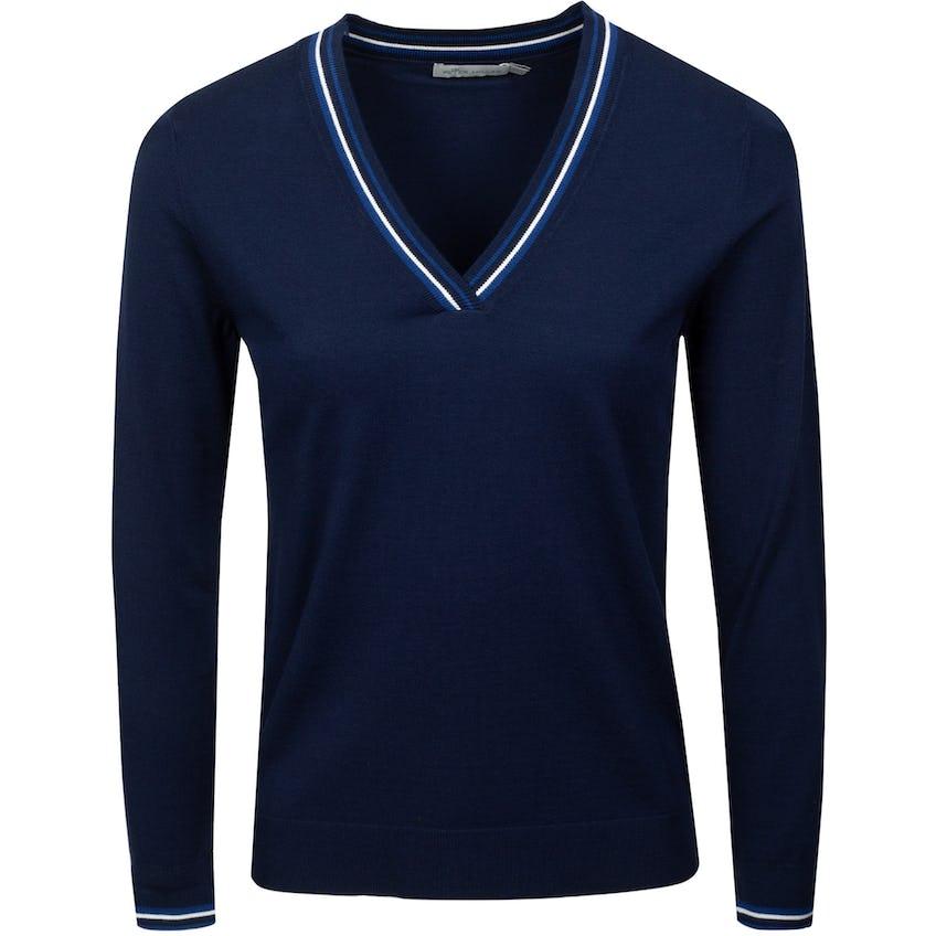 Womens Marlene Tipped Vneck Sport Sweater Navy 0