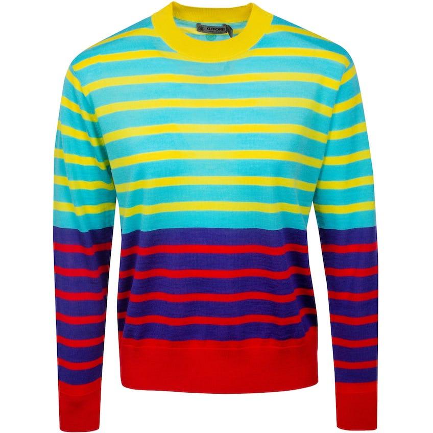 Womens Dual Stripe Crewneck Sweater Fiji 0