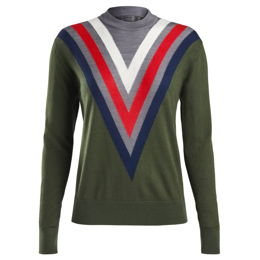 Womens Triple V Crewneck Sweater Olive 0