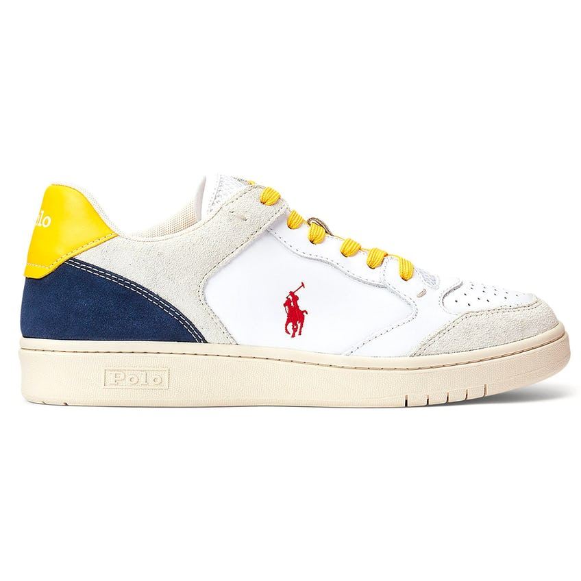 Court Lux Leather/Mesh/Suede Sneaker White/Navy/Yellow/Red 0