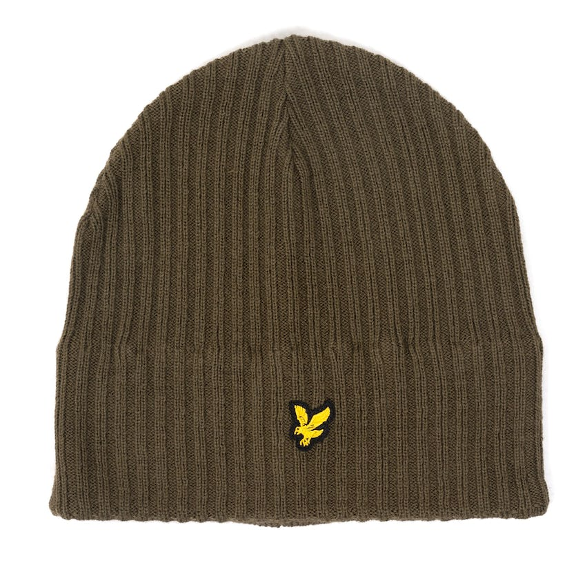 Knitted Ribbed Beanie Olive 0