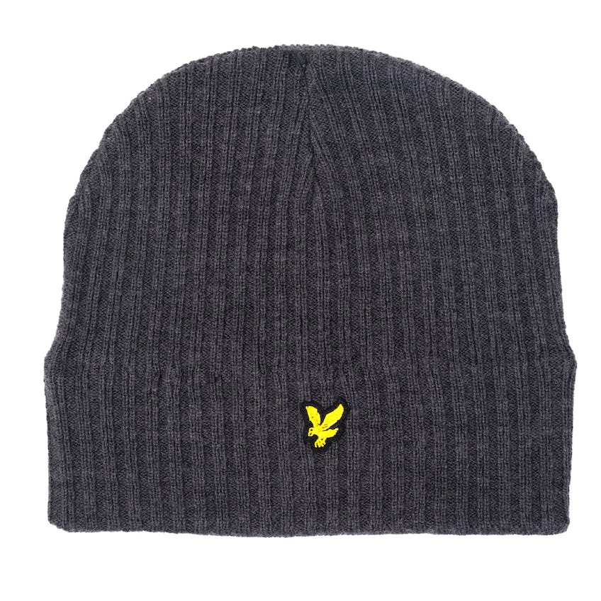 Knitted Ribbed Beanie Mid Grey Marl 0
