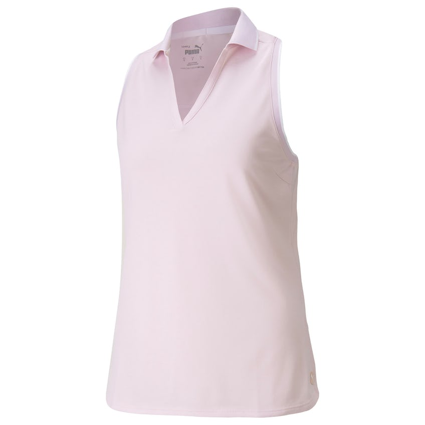 Womens MATTR Sprinter Sleeveless Polo Parfait Pink Heather 0