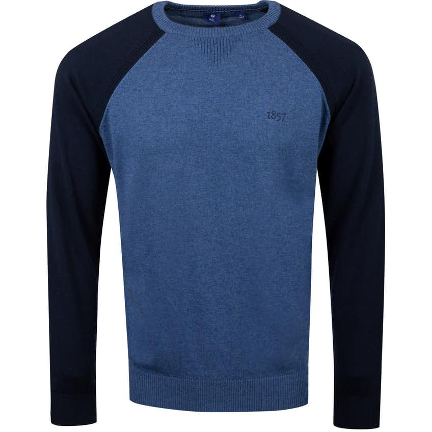 1857 Merino/Cotton Raglan Block Sweater Heather Lapis - AW20