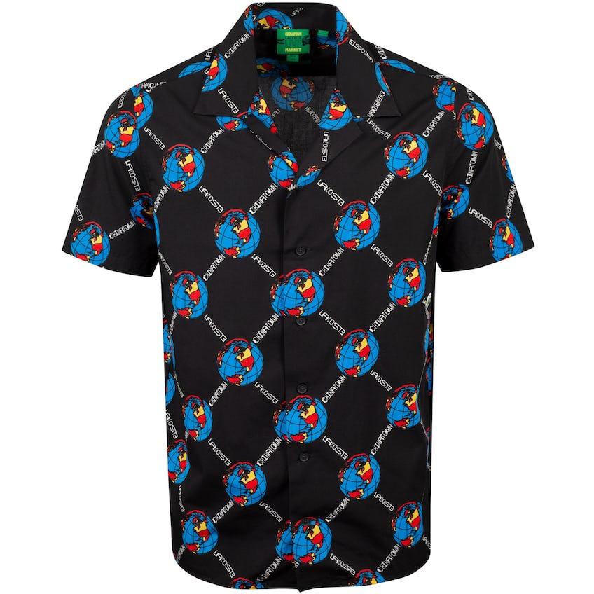 Chinatown Market Camp Collar World Woven Shirt Black  - AW20