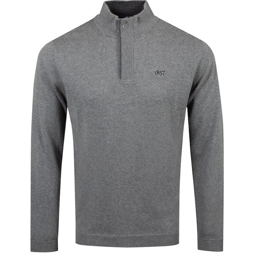 1857 Cotton/Cashmere Hidden Quarter-Zip Sweater Heather Grey - AW20
