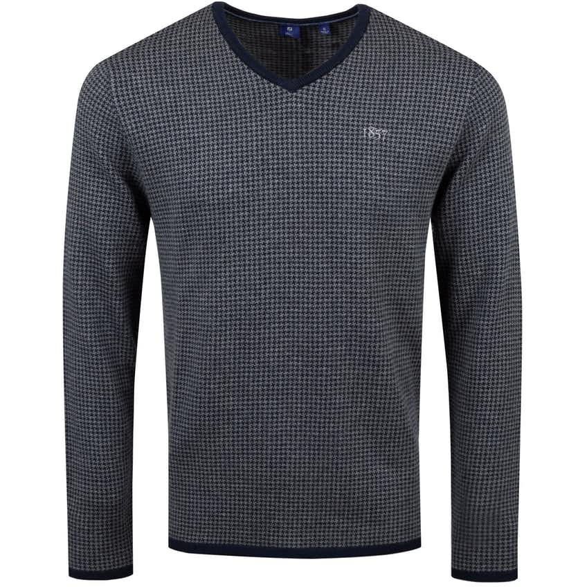 1857 Cotton/Cashmere Houndstooth V-Neck Sweater Navy - AW20