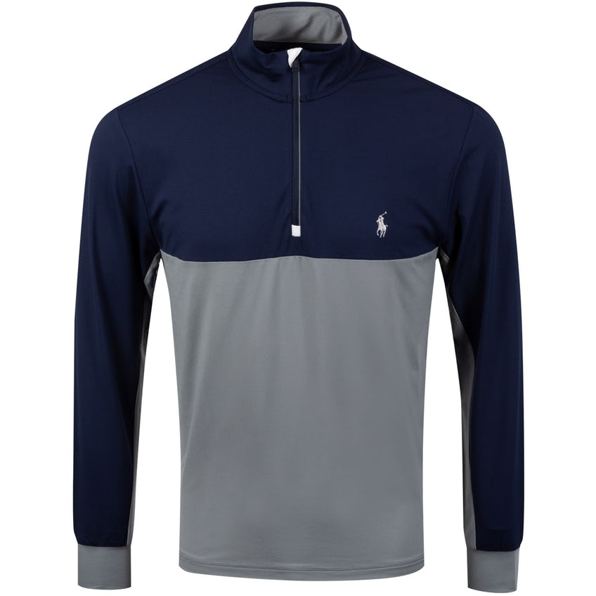 Colour Block Half Zip Peached Jersey Museum Grey/French Navy - SS20
