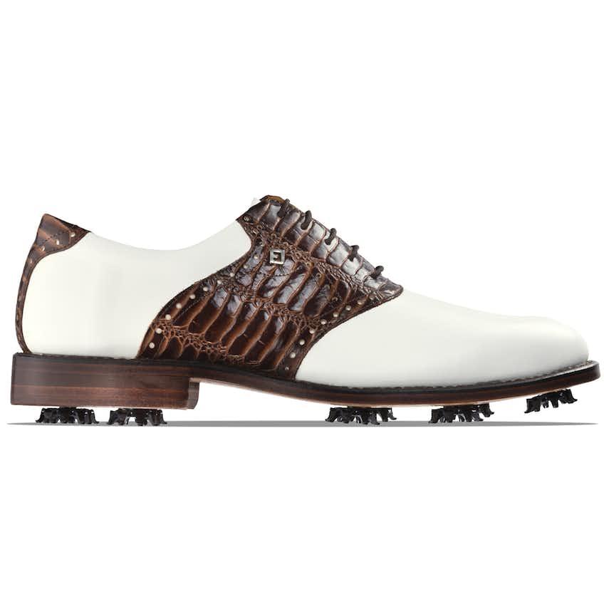1857 Plain Toe Saddle Shoe White/Chestnut Croc - 2021