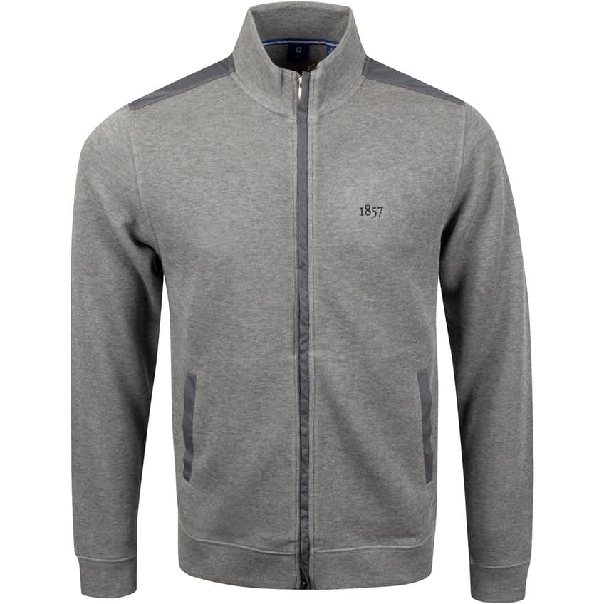 1857 Flat Back Rib Knit Full Zip Jacket Heather Grey - SS20