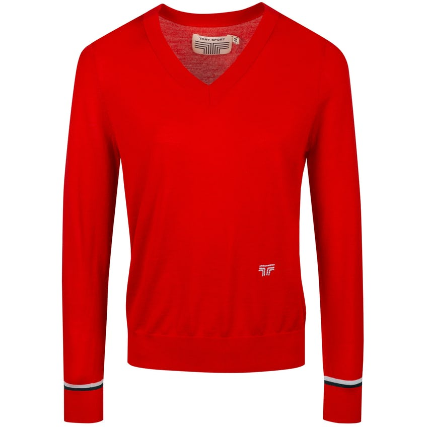 Tory Sport Womens Merino V-Neck Sweater Red - 2021 0