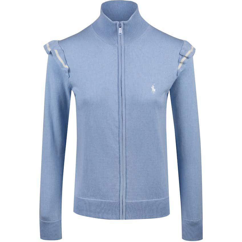 Womens Technical Cashmere Ruffle Sleeve Sweater Blue Hyacinth - SS20