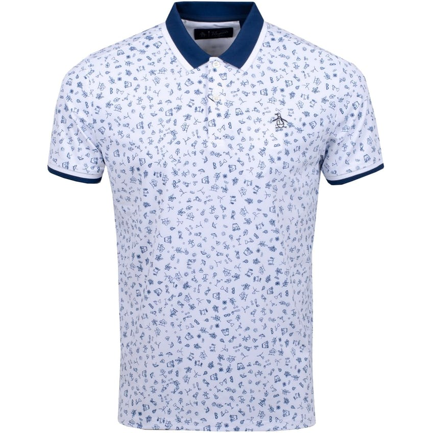 Clubhouse Printed Polo Bright White - SS20