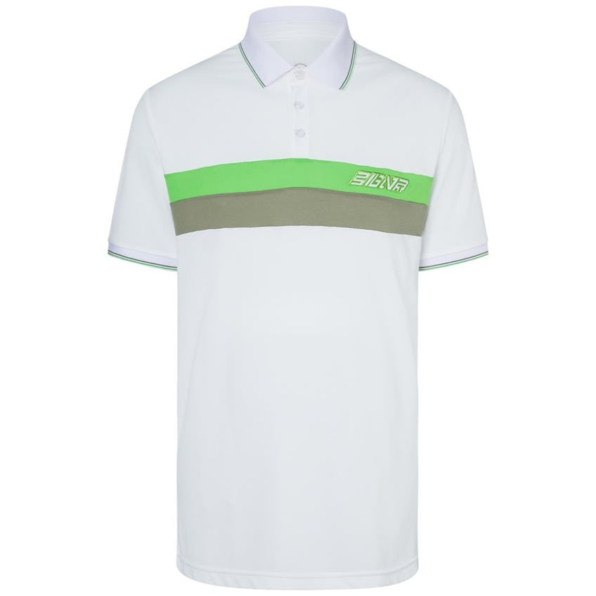 Lewi Polyester Pique Polo White/Green - SS20